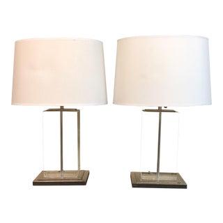 Thomas O'Brien for Visual Comfort Crystal Block Table Lamps - a Pair