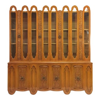 Art Deco Mid Century Wood Carved Display China Cabinet For Sale