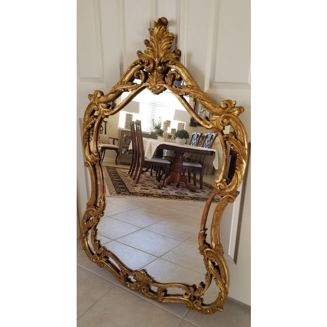 Italian Baroque Style Carved Giltwood Mirror, Mid-19th Century For Sale - Image 4 of 11