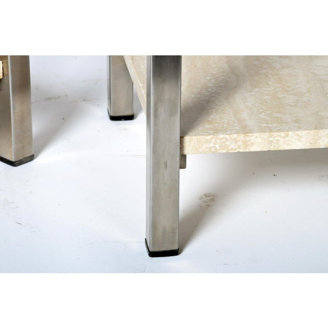 Pair of Two-Tier Travertine Side Tables in the Style of Guy Lefevre For Maison Jansen For Sale - Image 11 of 11
