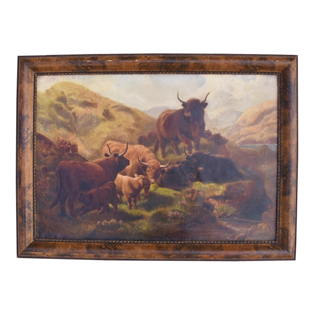 f103232c64d Vintage Scottish Highland Cattle Oil Painting