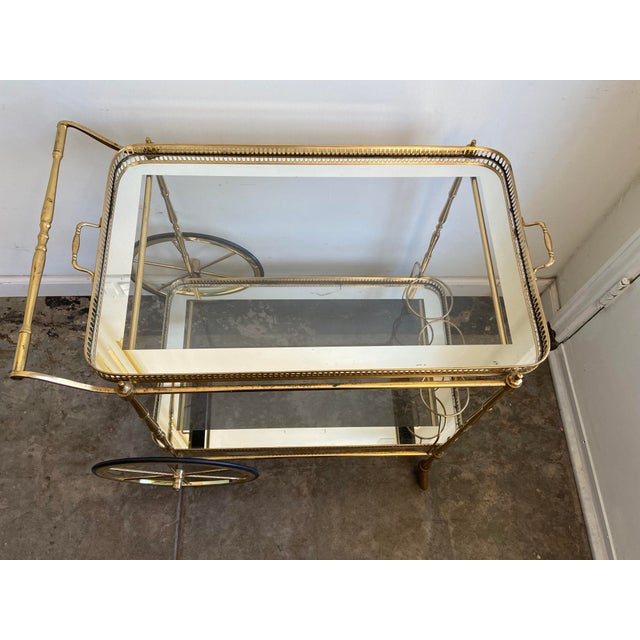 Vintage Brass Bar Cart with Tray For Sale In Los Angeles - Image 6 of 12
