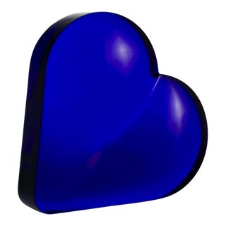 Cobalt Art Glass Heart For Sale