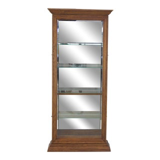 Tall Narrow Side Doors Beveled Glass Oak Curio Display Cabinet For Sale