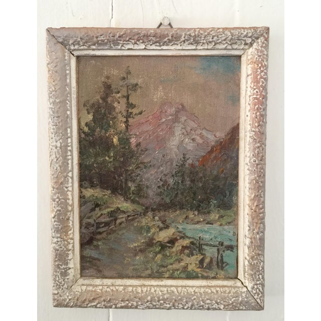 Cottage 1950s Vintage Mountain Scene Small French Oil Painting For Sale - Image 3 of 3