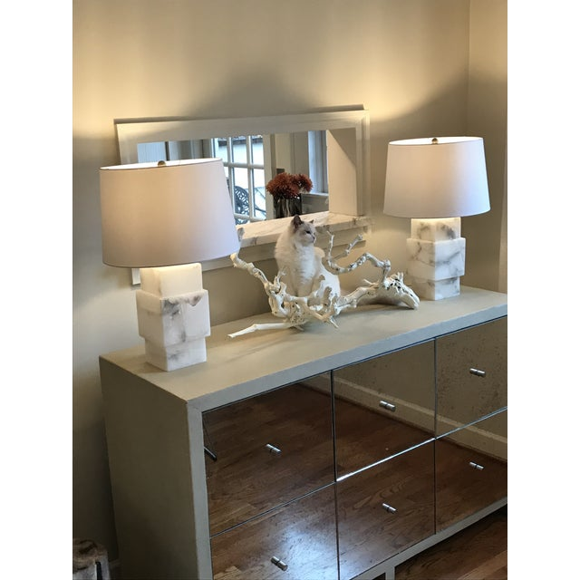 Minimalist Modern Alabaster Lamp With Shade For Sale - Image 4 of 6