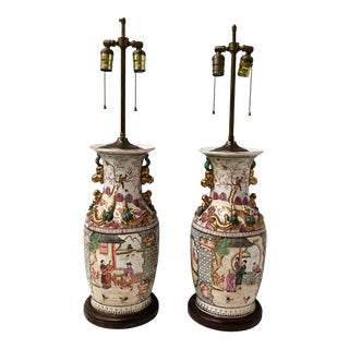 Pair of Rose Famille Chinoiserie Lamps For Sale