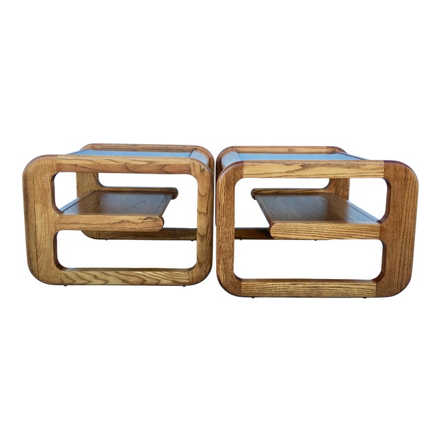 Geometric Oak & Glass Side Tables - Image 1 of 8
