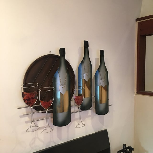 Modern Signed C. Curtis Jere Artisan House Wine Tasting Sculptural Wall Art For Sale - Image 3 of 10