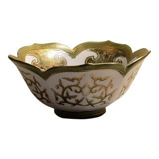 Vintage Sadek Labeled and Numbered Hand Painted Gold Edge Lotus Leaf Bowl For Sale