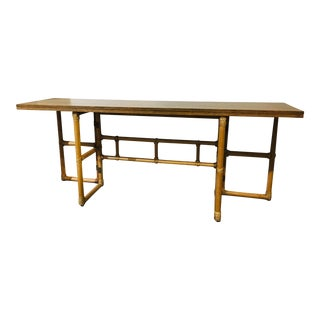 Vintage McGuire Convertible Console Dining Table W/Rattan Base For Sale