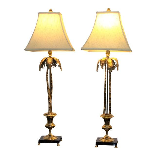Vintage Maison Jansen Style Palm Tree Table Lamps - a Pair For Sale