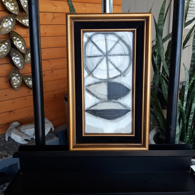 Delicious nugget of a modernist painting by Palm Springs artist Shawn Savage in a vintage frame.