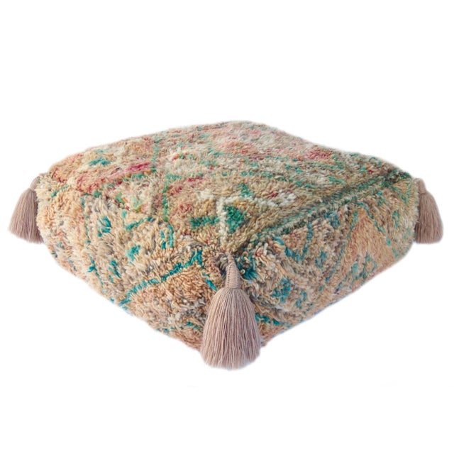 Mid 20th Century Vintage Mid Century Honey and Green Moroccan Pouf For Sale - Image 5 of 8