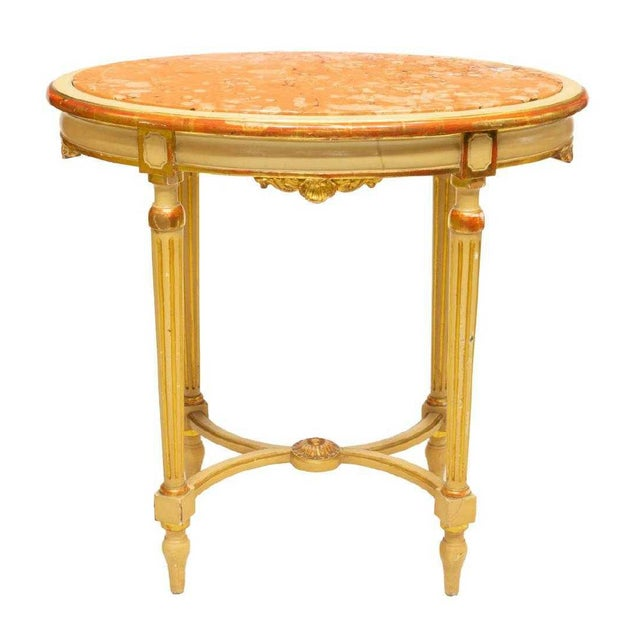 Belle Epoque Late 19th Century Antique Louis XVI Style Parcel Gilt Marble Table For Sale - Image 3 of 3
