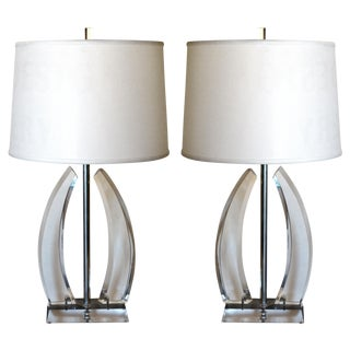 Curved Column Lucite Table Lamps - Pair