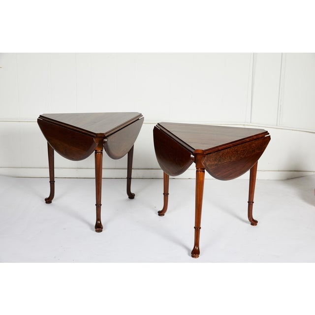 Pair of Vintage Statton Drop Leaf Tea Tables of Solid Cherry For Sale - Image 9 of 12