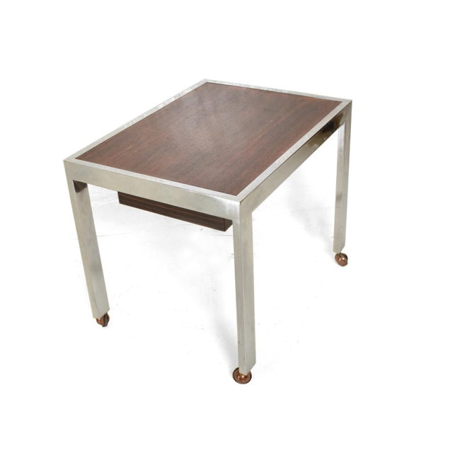 Scandinavian Danish Modern Side Table in Rosewood and Chrome For Sale - Image 9 of 9