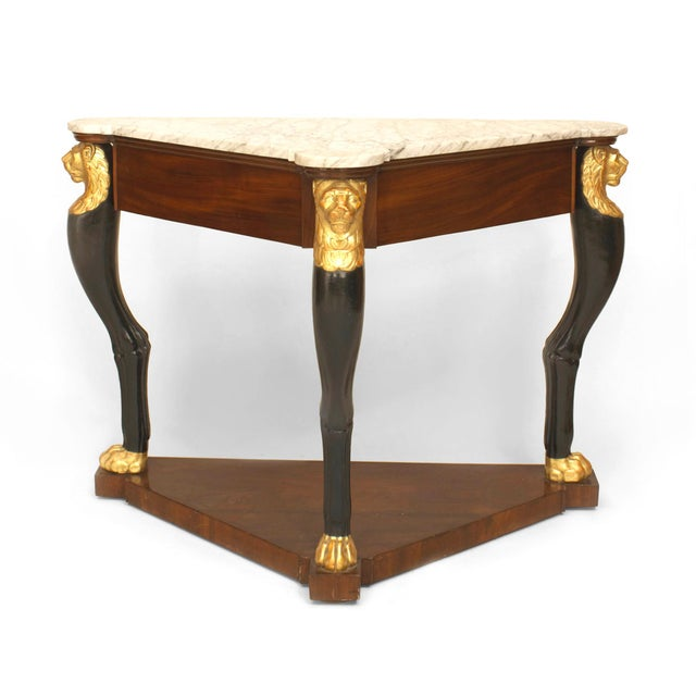 A Fine French Empire Triangular Console Table With Gilt Lion Heads For Sale - Image 4 of 5