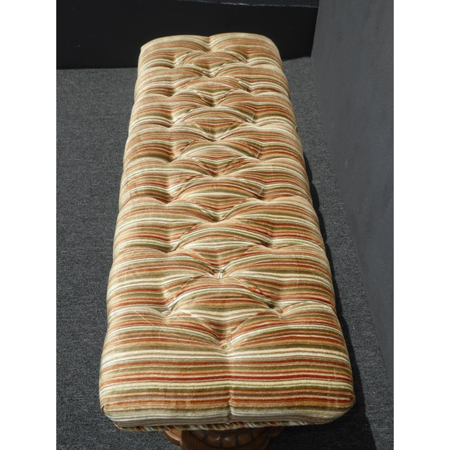 Vintage Mid-Century Tufted Stripped Bench - Image 4 of 10