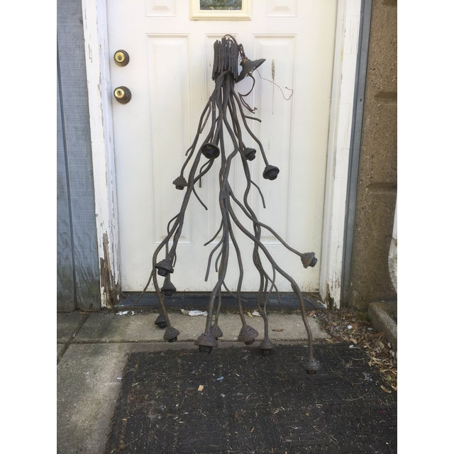 Modern Metal Tree Branch Chandelier For Sale - Image 4 of 6