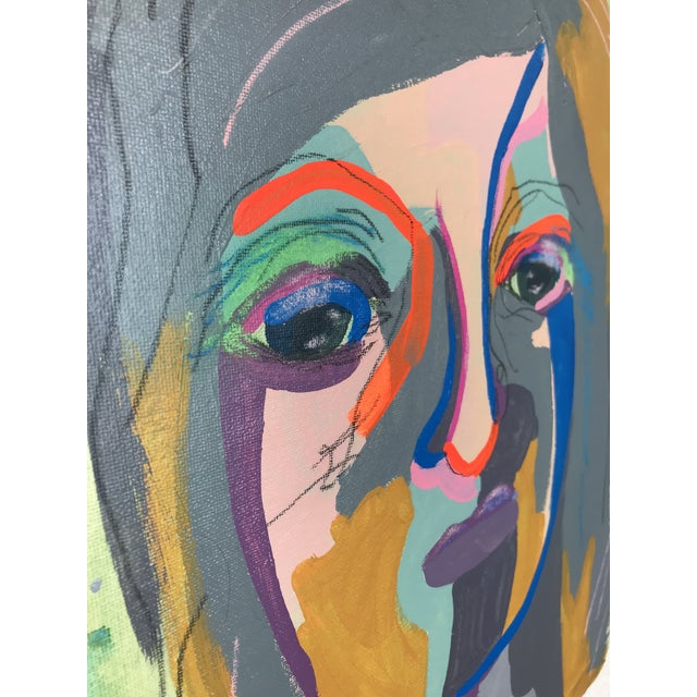 """Acrylic Paint Contemporary Abstract Portrait Painting """"She's the Girl"""" - Framed For Sale - Image 7 of 12"""