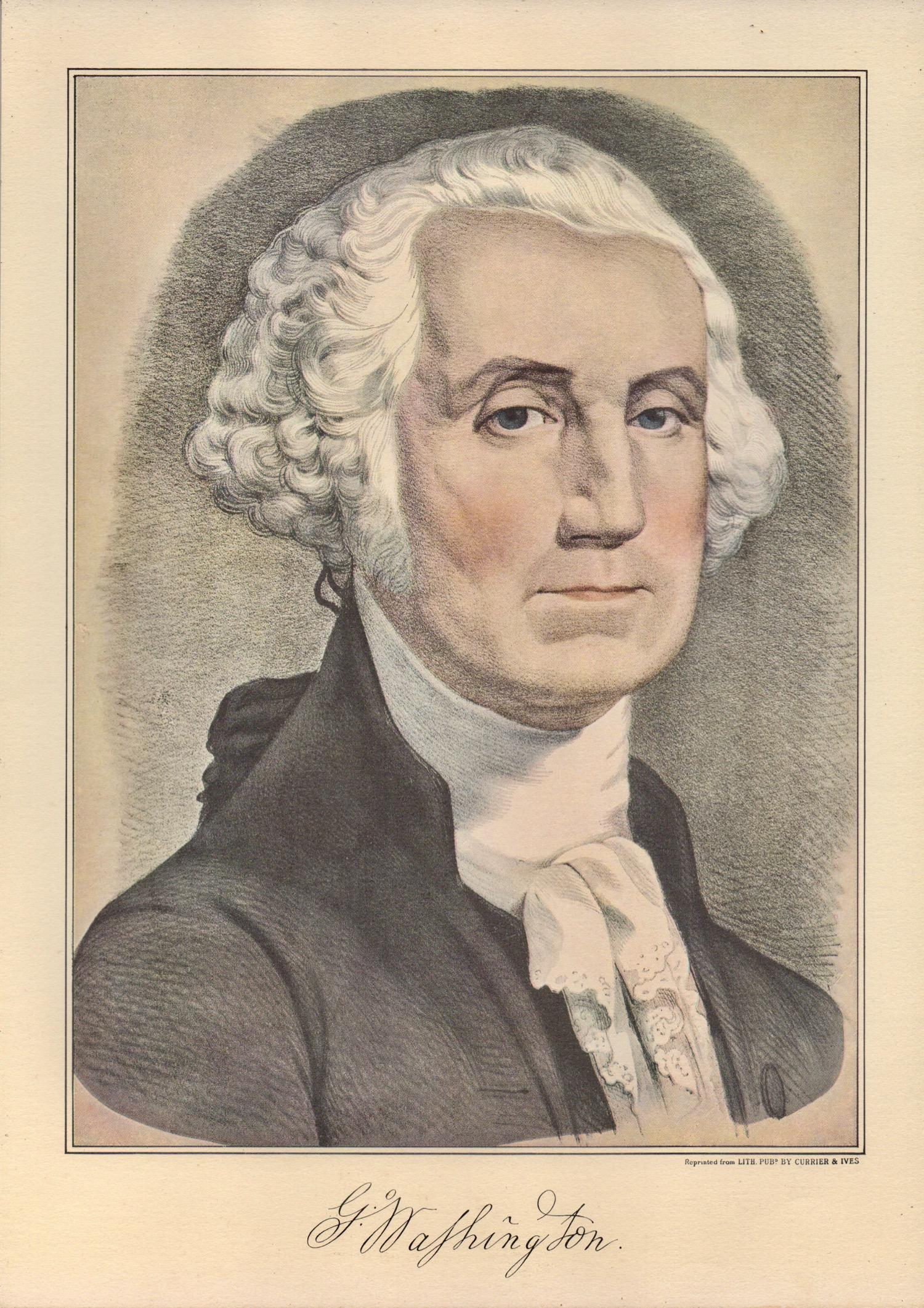 picture regarding Printable Pictures of George Washington referred to as 1950s Common Currier Ives Portrait of George Washington Lithograph Print