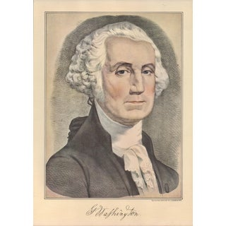 1950s Vintage Currier & Ives Portrait of George Washington Lithograph Print For Sale