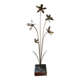 Mid Century Metal Flower Sculpture For Sale