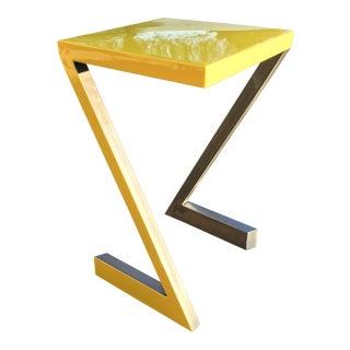Modern Z Shaped Steel Side Table For Sale