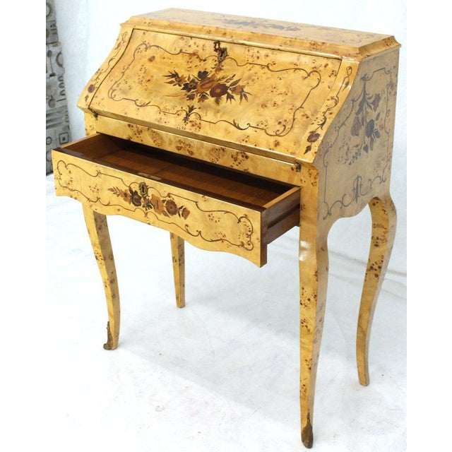 Italian Burl Wood Inlayed Drop Secretary Desk With Matching Bench Bronze Ormolu For Sale - Image 12 of 13