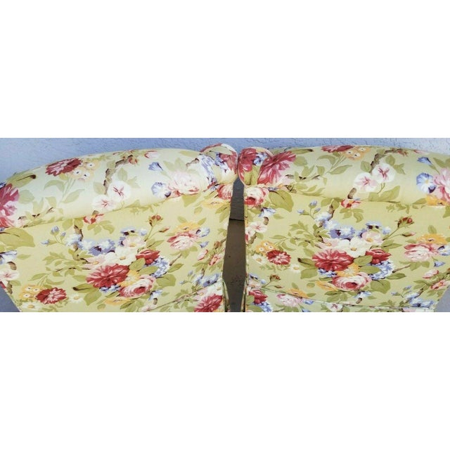 Century Furniture Company Floral Tropical Upholstered Skirted Club Chairs - a Pair For Sale In Miami - Image 6 of 8