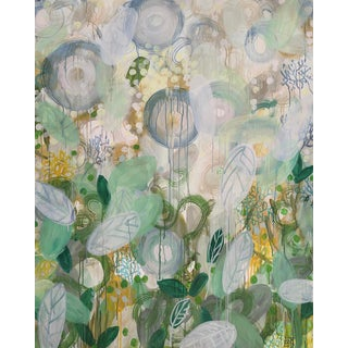 """Alex K. Mason """"Thrive"""" Abstract Floral MIxed Media Painting on Unframed Canvas For Sale"""