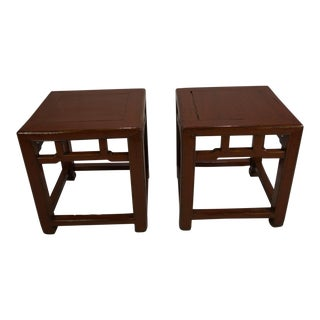 19th Century Chinese Painted Red Lacquer Square Side Tables - a Pair For Sale