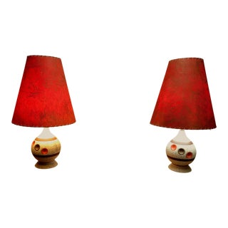 Original 60's Modern Table Lamps With Original Period Shades - a Pair For Sale