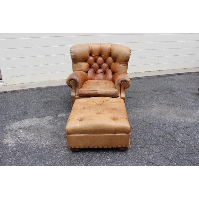 """1980s Vintage Ralph Lauren Tufted Leather """"Writers"""" Chair and Ottoman For Sale In Los Angeles - Image 6 of 6"""
