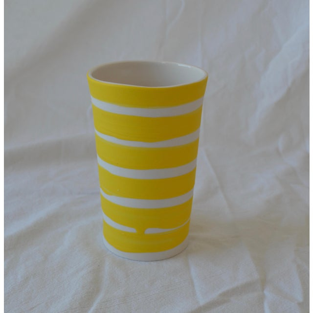 Gold Contemporary Ceramic Multi Striped Cylindrical Vessels - Group of 5 For Sale - Image 8 of 13