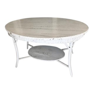 20th Century Shabby Chic Coastal White Wicker Oval Dining Patio Table For Sale