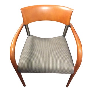 Loewenstein Fabric Covered Wood and Steel Arm Chair For Sale