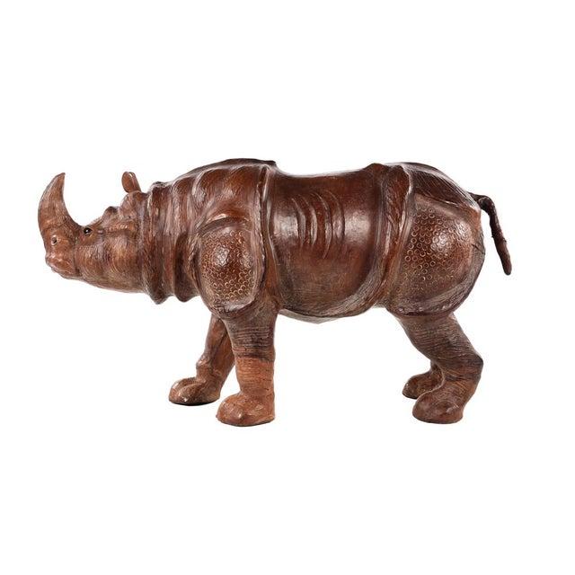Leather Vintage Leather Rhinoceros Sculpture For Sale - Image 7 of 9