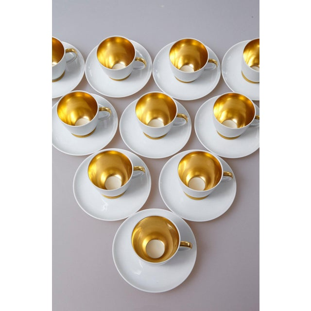 White Set of 10 White and Gold Fürstenberg Porcelain Demitasse Cups & Saucers, Germany For Sale - Image 8 of 13