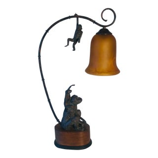 1970s Wood and Bronze Monkey Table Lamp For Sale