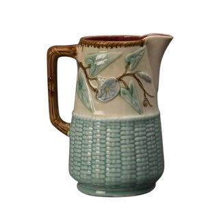 19th Century French Barbotine Glazed Basketweave Earthenware Milk Pitcher For Sale