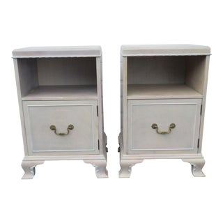 Whitewash Painted Tall Pair Nightstands Side End Tables by Rway For Sale