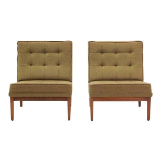 Early Pair of Florence Knoll Armless Slipper Chairs with Walnut Frames For Sale