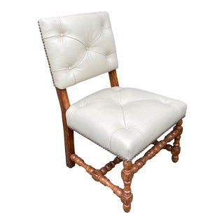 Spanish Colonial Style Tufted Leather Occasional Chair For Sale