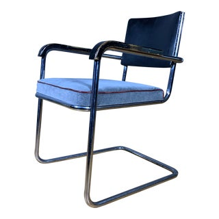 C1940 Tubular Chrome Cantilever Armchair, Velvet Seat For Sale