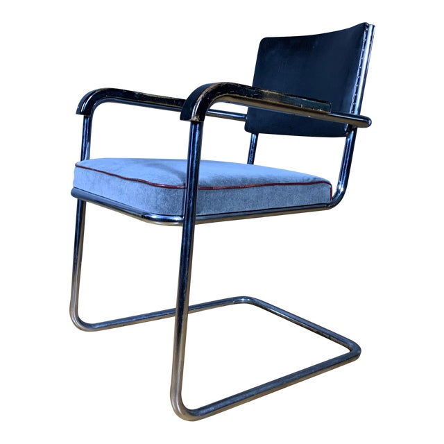 C1940 Tubular Chrome Cantilever Armchair, Velvet Seat For Sale