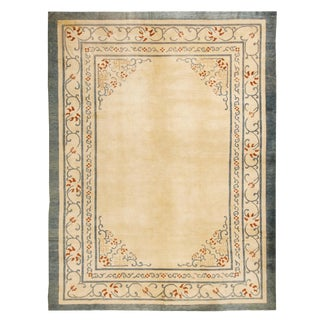 Antique Peking Traditional Golden-Beige and Blue Wool Rug For Sale