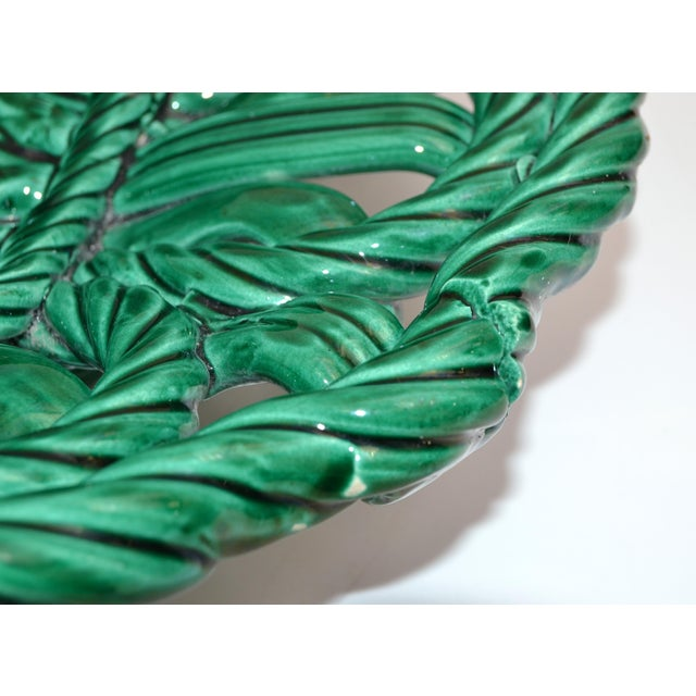 Vallauris France Glazed Woven Ceramic Basket Emerald Green Bambi 1955, Pottery For Sale - Image 12 of 13